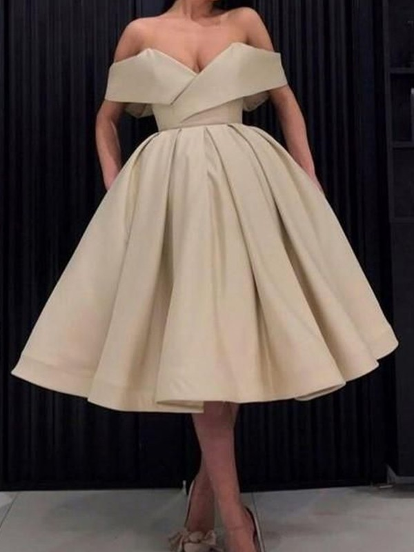 Champagne Satin Off-the-Shoulder Ball Gown Knee-Length Dresses