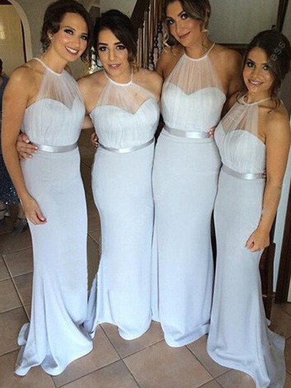 Silver Elastic Woven Satin Halter Sheath/Column Floor-Length Bridesmaid Dresses