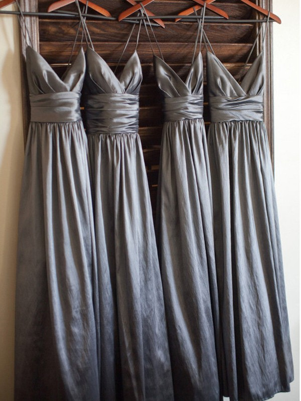Silver Taffeta Spaghetti Straps A-Line/Princess Floor-Length Bridesmaid Dresses