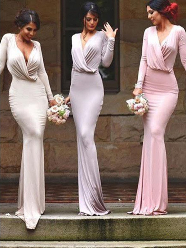 Silver Jersey V-neck Sheath/Column Floor-Length Bridesmaid Dresses