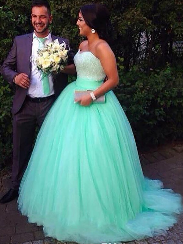 Green Tulle Sweetheart Ball Gown Sweep/Brush Train Plus Size Dresses