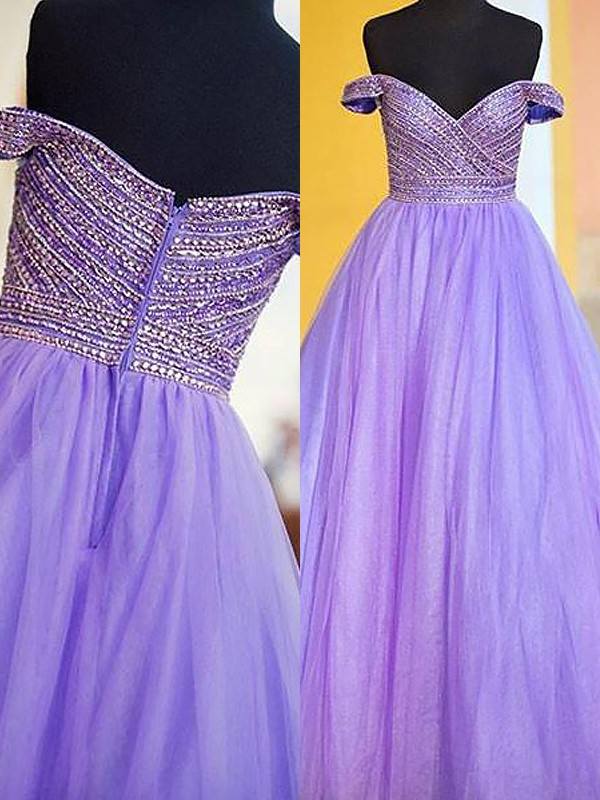 Lilac Tulle Off-the-Shoulder Ball Gown Floor-Length Dresses