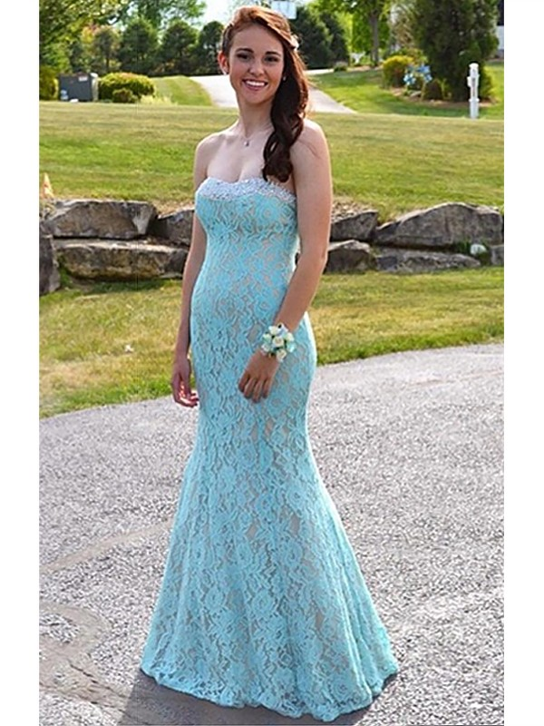 Light Sky Blue Lace Sweetheart Trumpet/Mermaid Floor-Length Dresses