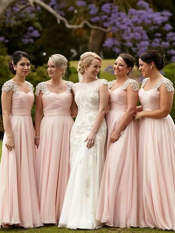 Pink Chiffon Square A-Line/Princess Floor-Length Bridesmaid Dresses
