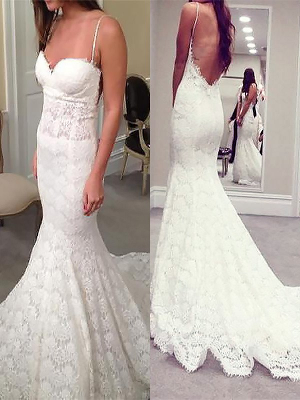 Ivory Lace Spaghetti Straps Trumpet/Mermaid Court Train Wedding Dresses