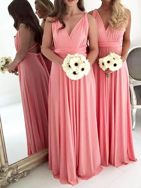 Watermelon Spandex V-neck A-Line/Princess Floor-Length Bridesmaid Dresses