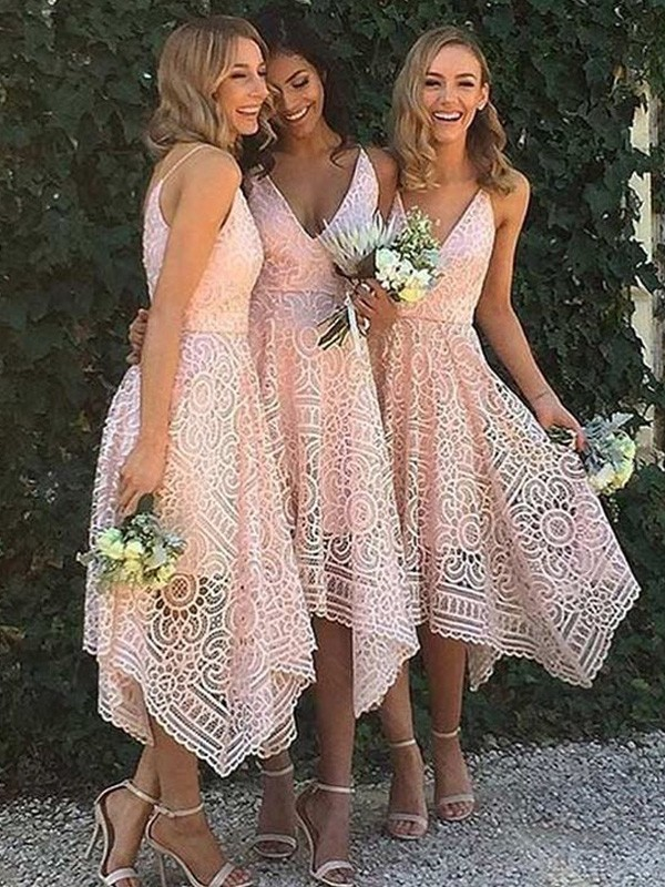 Pink Lace V-neck A-Line/Princess Asymmetrical Bridesmaid Dresses