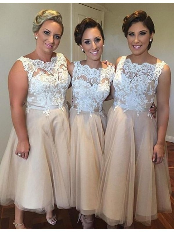 Champagne Tulle Sweetheart A-Line/Princess Knee-Length Bridesmaid Dresses