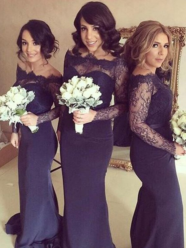 Dark Navy Satin Off-the-Shoulder Trumpet/Mermaid Sweep/Brush Train Bridesmaid Dresses