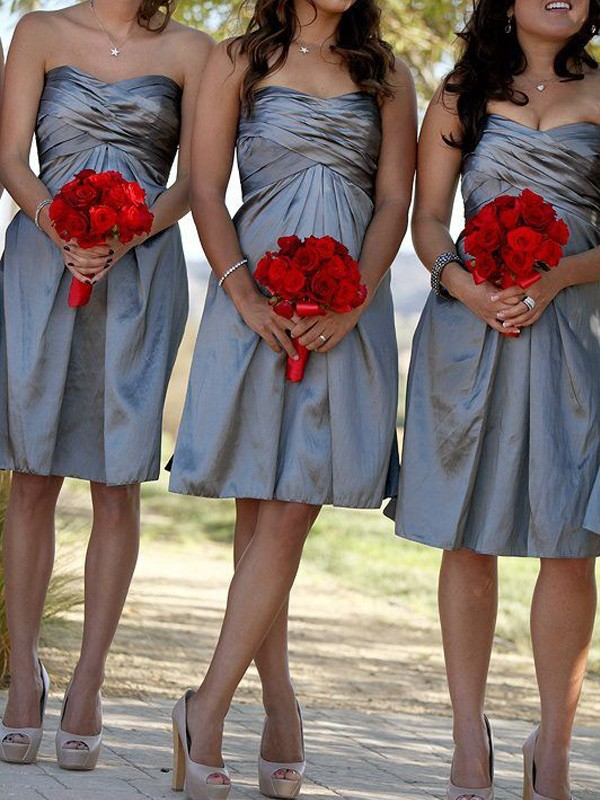 Grey Satin Sweetheart Sheath/Column Short/Mini Bridesmaid Dresses