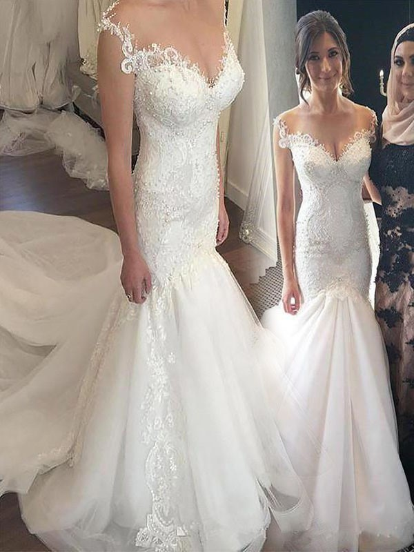 Ivory Tulle Off-the-Shoulder Trumpet/Mermaid Chapel Train Wedding Dresses