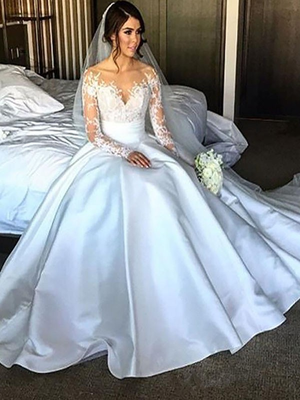 Ivory Satin Off-the-Shoulder Ball Gown Court Train Wedding Dresses