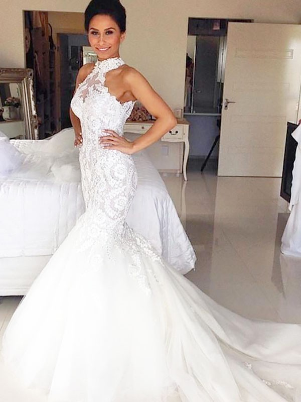Ivory Tulle Halter Trumpet/Mermaid Court Train Wedding Dresses