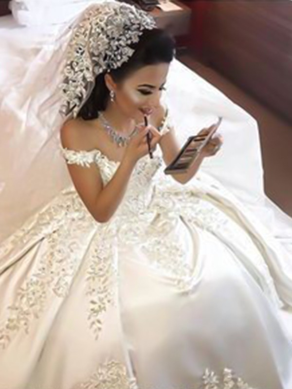 Ivory Satin Off-the-Shoulder Ball Gown Sweep/Brush Train Wedding Dresses