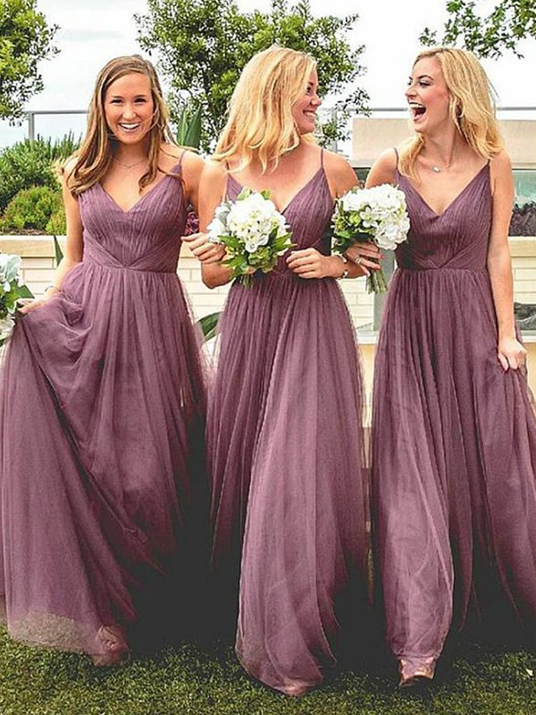 Pink Tulle Spaghetti Straps A-Line/Princess Floor-Length Bridesmaid Dresses