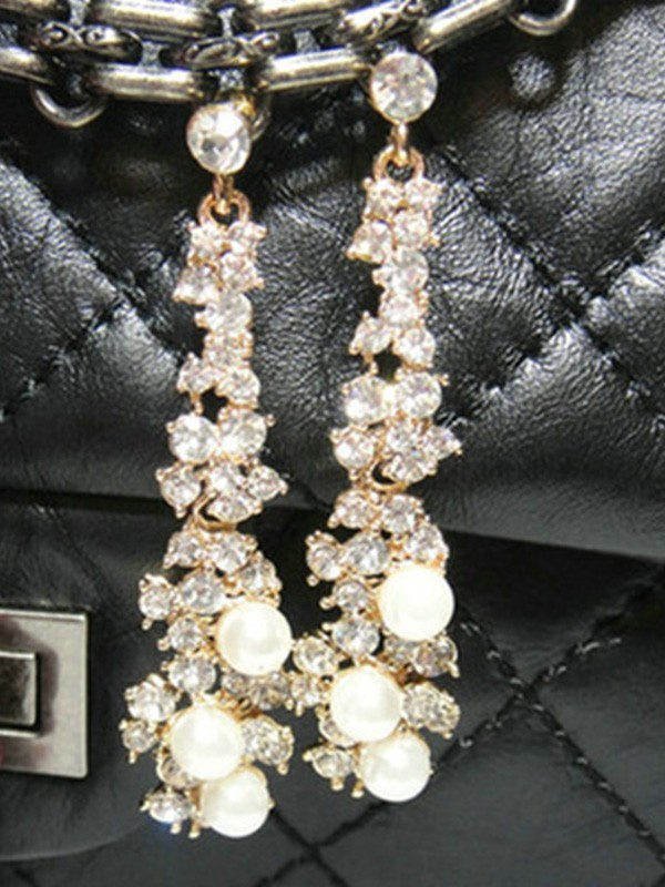 Attractive Alloy With Rhinestone Ladies Earrings