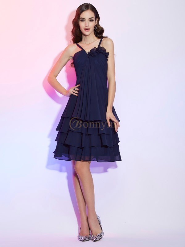 Dark Navy Chiffon Spaghetti Straps A-Line/Princess Knee-Length Bridesmaid Dresses