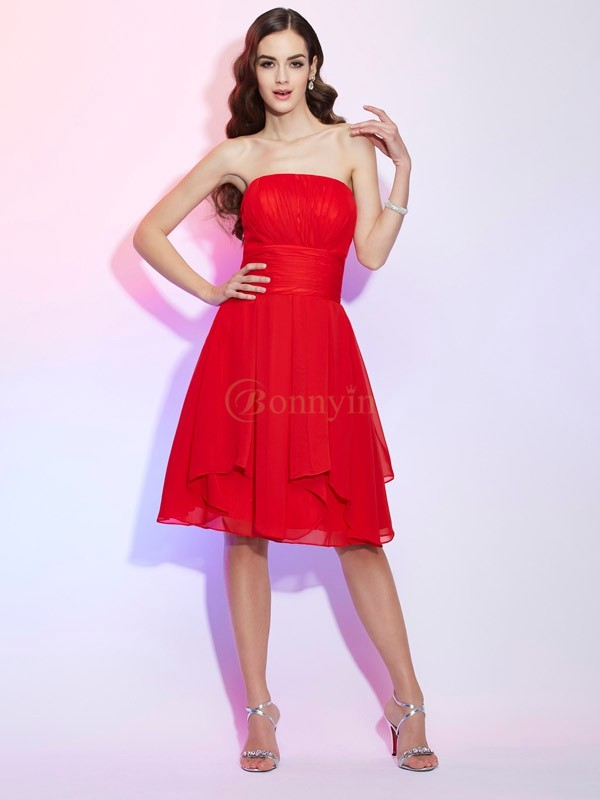 Red Chiffon Strapless A-Line/Princess Knee-Length Dresses