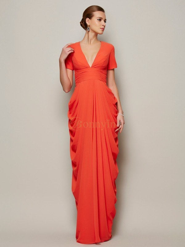 Orange Chiffon V-neck Sheath/Column Floor-Length Dresses