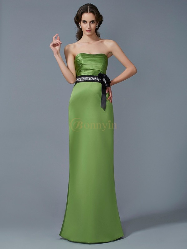 Green Satin Strapless Sheath/Column Floor-Length Dresses