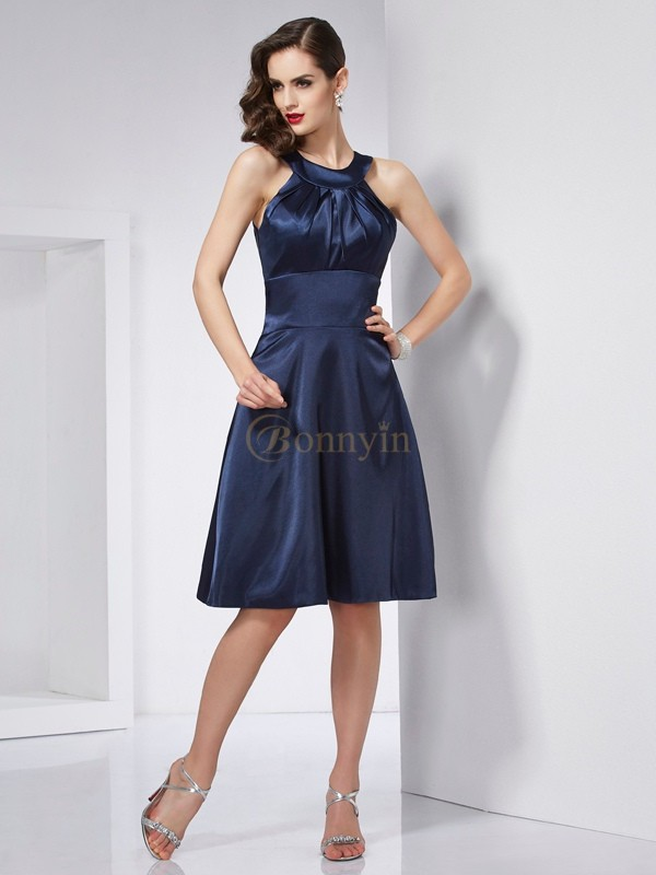 Dark Navy Elastic Woven Satin Scoop A-Line/Princess Knee-Length Dresses