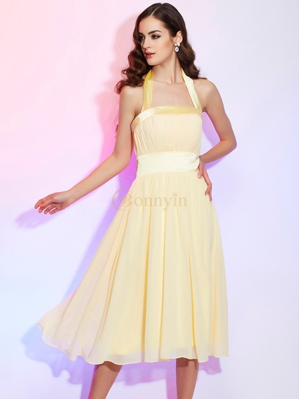Daffodil Chiffon Halter A-Line/Princess Knee-Length Dresses
