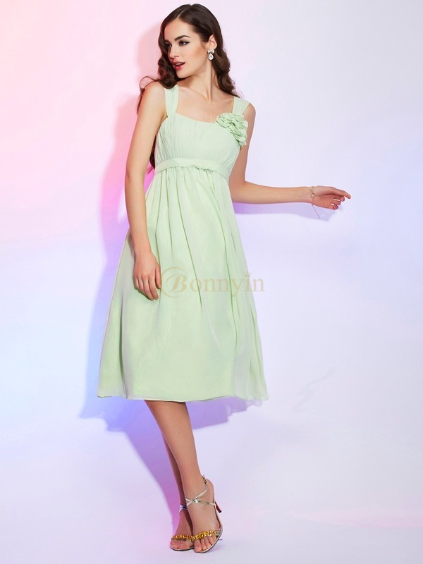Sage Chiffon Straps A-Line/Princess Knee-Length Dresses