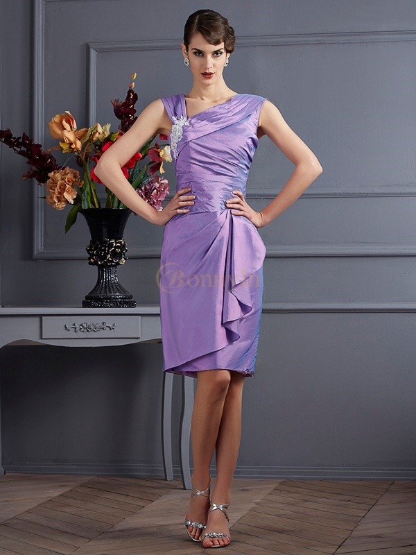 Lilac Taffeta Sheath/Column Knee-Length Bridesmaid Dresses