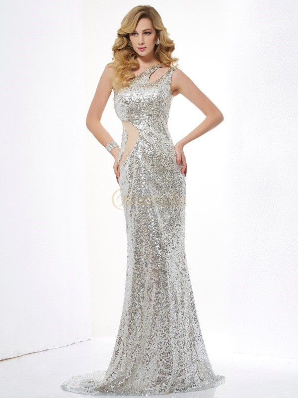 Silver Lace Sequins One-Shoulder Trumpet/Mermaid Sweep/Brush Train Dresses