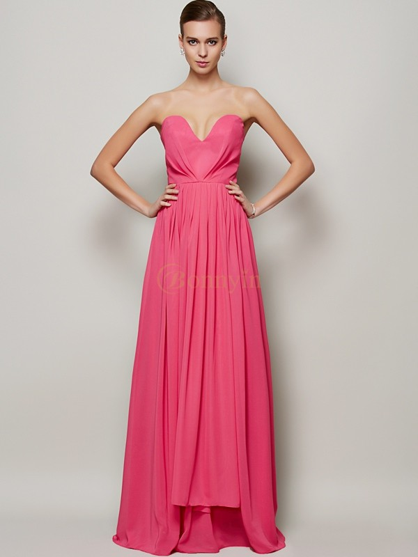 Fuchsia Chiffon Sweetheart A-Line/Princess Floor-Length Dresses