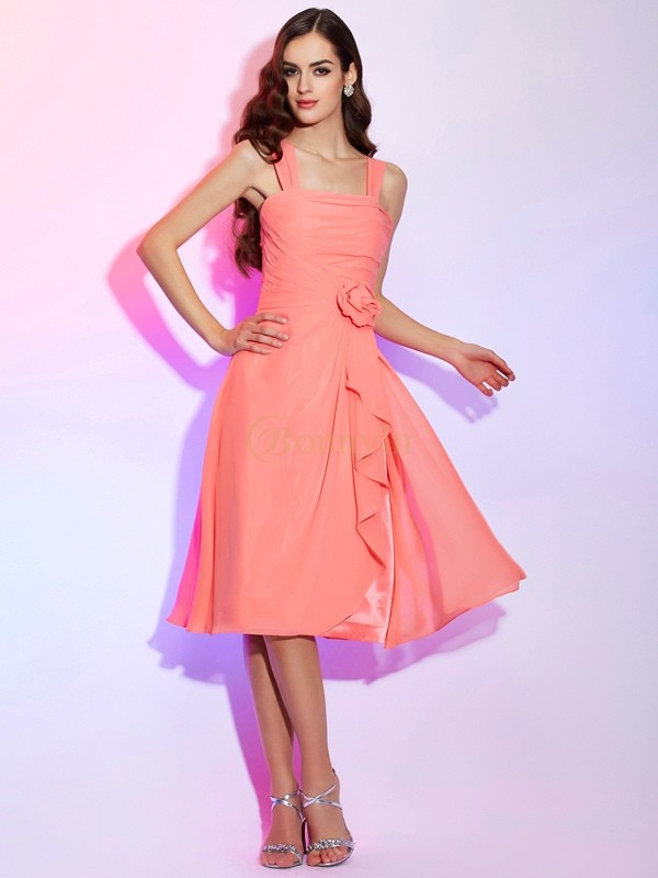 Watermelon Chiffon Straps A-Line/Princess Knee-Length Bridesmaid Dresses