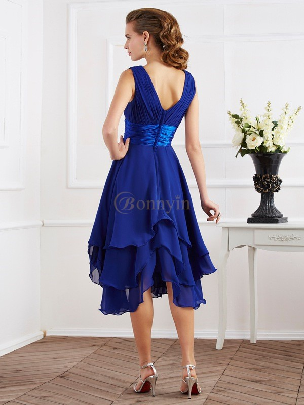 Royal Blue Chiffon V-neck A-Line/Princess Tea-Length Bridesmaid Dresses