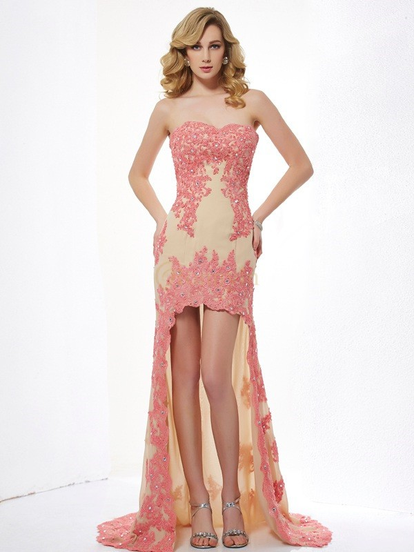 Champagne Lace Sweetheart A-Line/Princess Asymmetrical Dresses