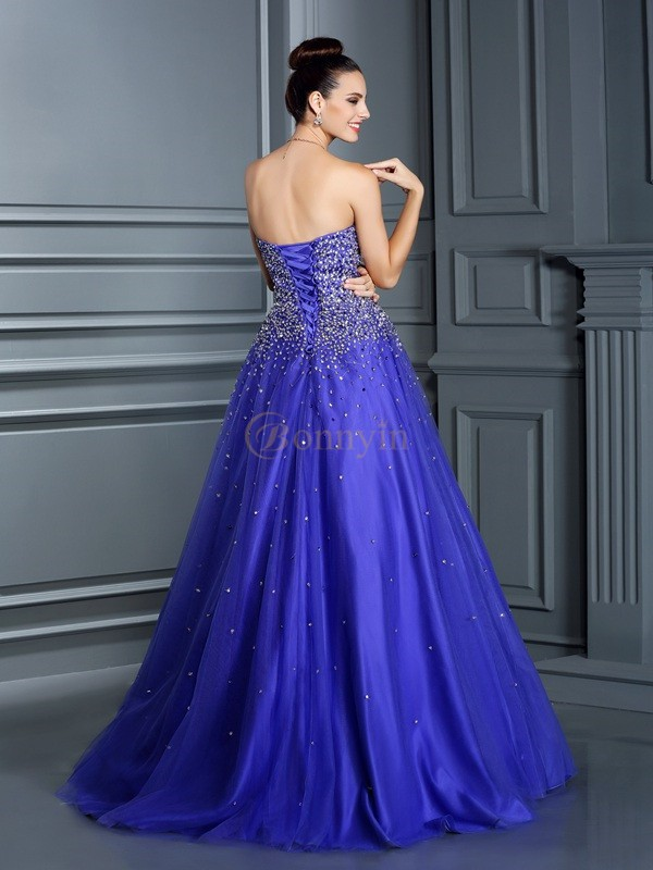 Regency Net Sweetheart Ball Gown Floor-Length Prom Dresses