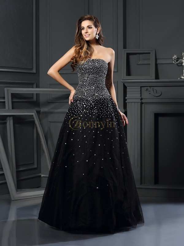 Black Satin Strapless Ball Gown Floor-Length Prom Dresses