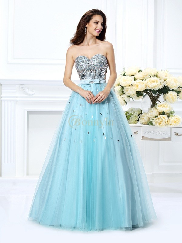 Light Sky Blue Satin Sweetheart Ball Gown Floor-Length Dresses