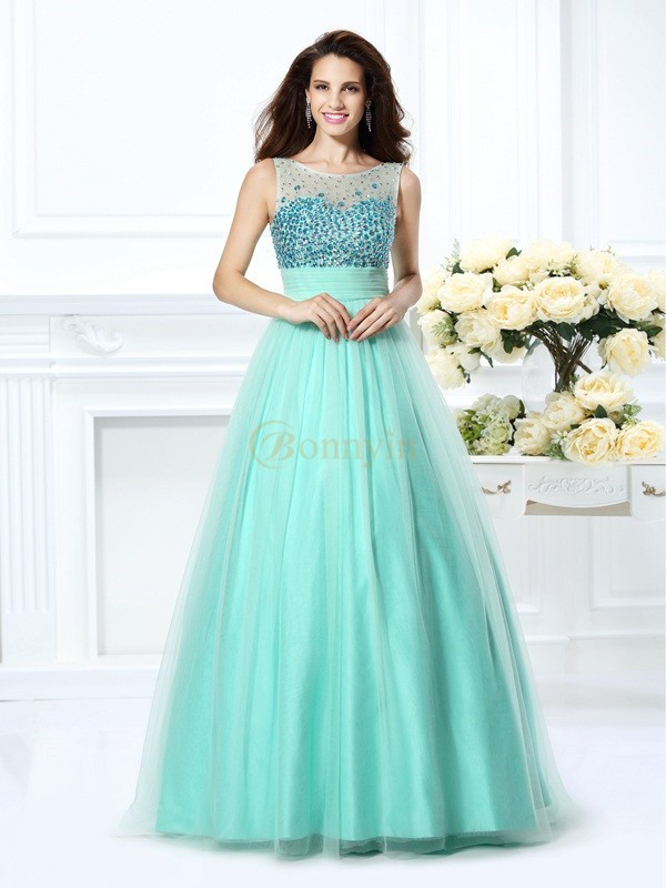 Sage Chiffon Bateau Ball Gown Floor-Length Dresses