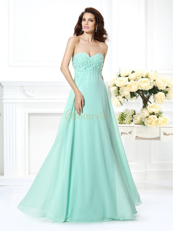 Sage Chiffon Sweetheart A-Line/Princess Floor-Length Dresses