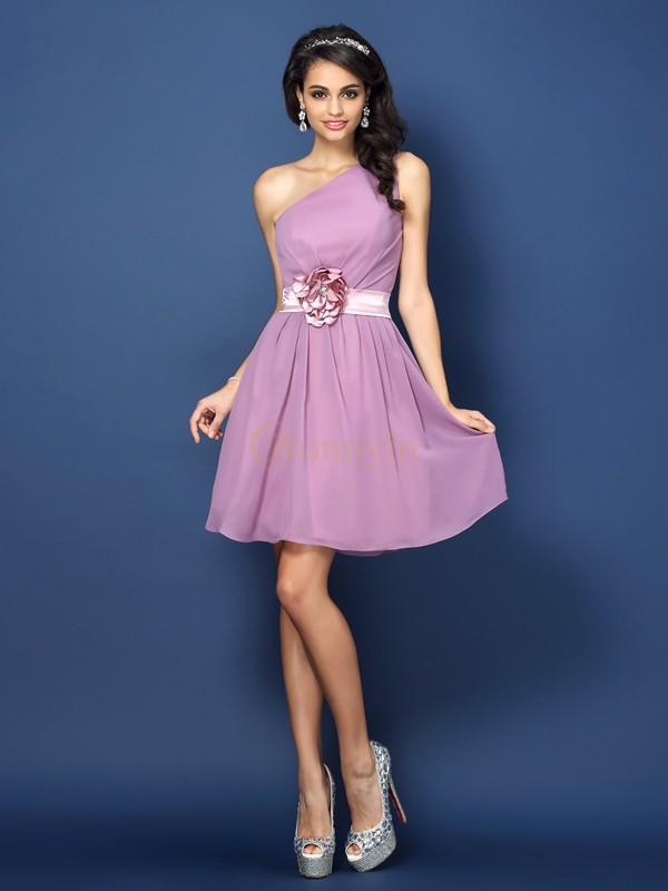 Lavender Chiffon One-Shoulder A-Line/Princess Short/Mini Bridesmaid Dresses