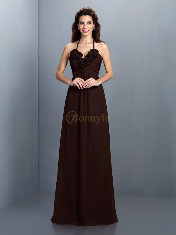 Brown Chiffon Halter A-Line/Princess Floor-Length Bridesmaid Dresses