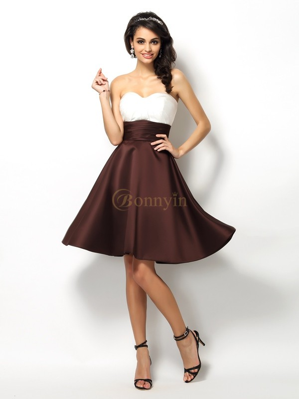 Chocolate Satin Sweetheart A-Line/Princess Short/Mini Bridesmaid Dresses