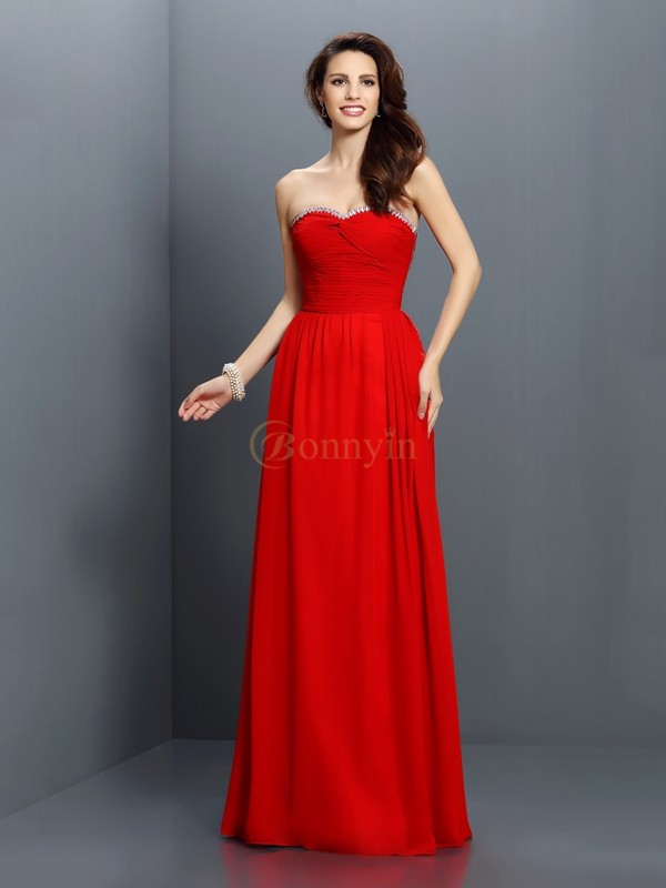 Red Chiffon Sweetheart A-Line/Princess Floor-Length Bridesmaid Dresses