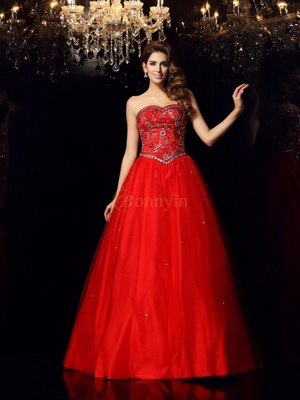 Red Satin Sweetheart Ball Gown Floor-Length Prom Dresses