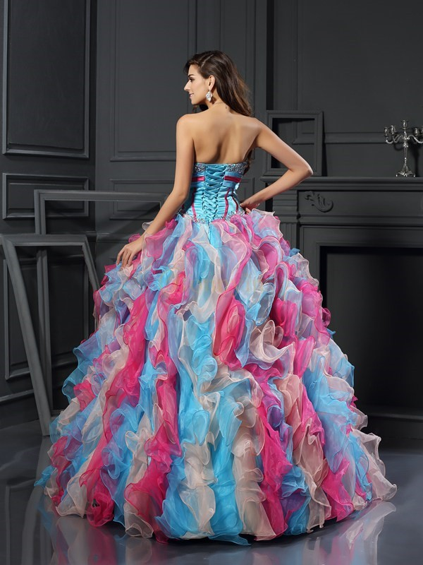 Multi Colors Organza Sweetheart Ball Gown Floor-Length Prom Dresses