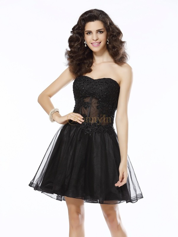 Black Satin Sweetheart A-Line/Princess Short/Mini Dresses