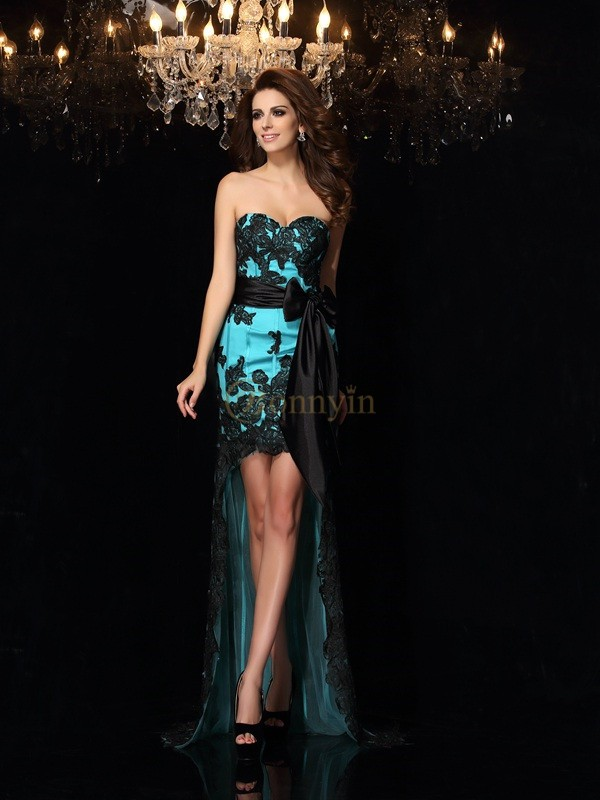 Blue Satin Sweetheart Sheath/Column Asymmetrical Prom Dresses