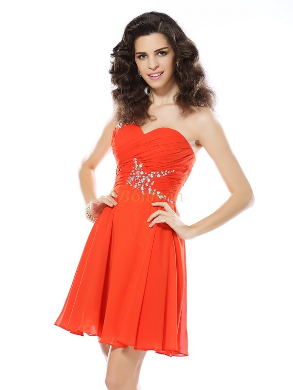 Orange Chiffon One-Shoulder A-Line/Princess Short/Mini Dresses