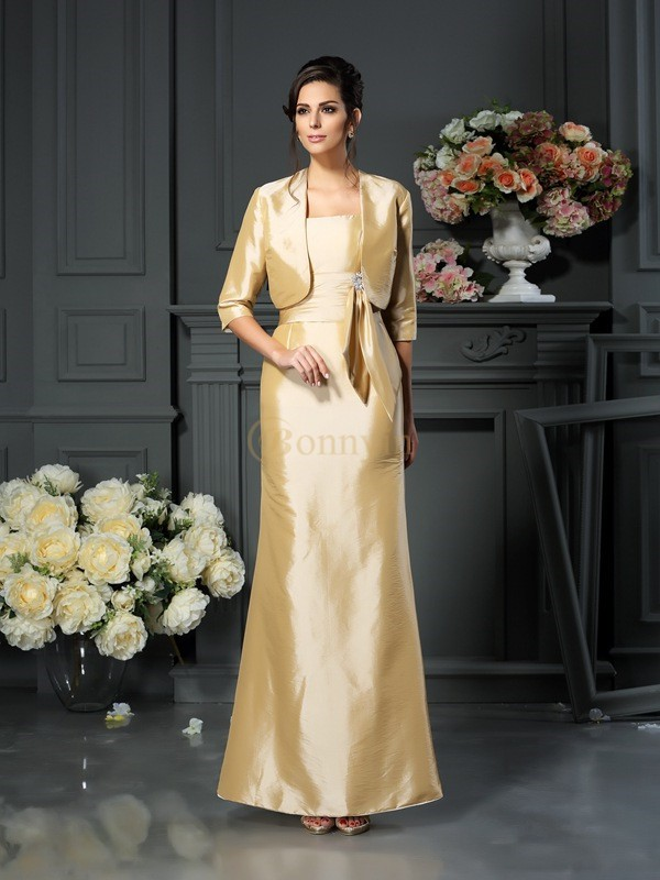 Champagne Taffeta Straps Sheath/Column Ankle-Length Mother of the Bride Dresses