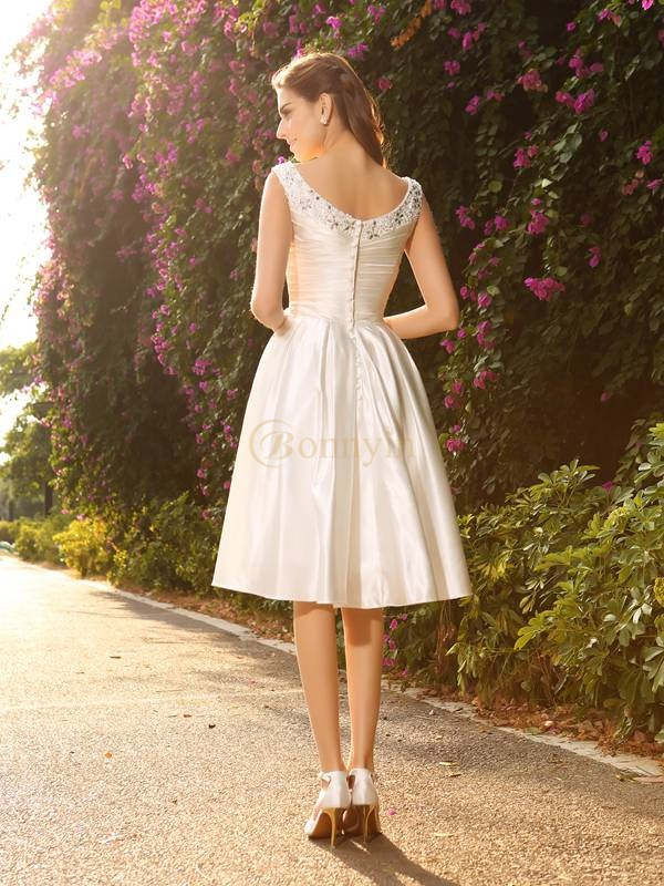 Ivory Satin V-neck A-Line/Princess Knee-Length Wedding Dresses