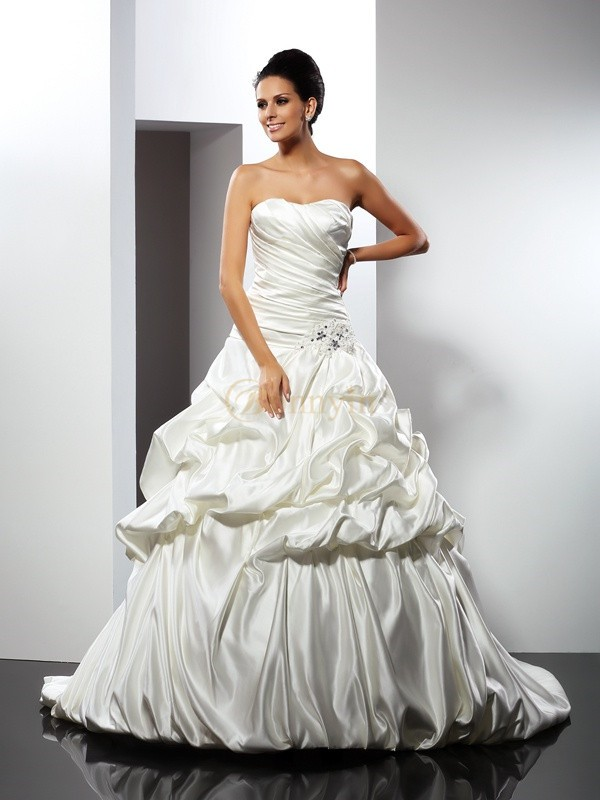 Ivory Satin Sweetheart Ball Gown Cathedral Train Wedding Dresses